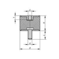 Gummipuffer Typ B Ø70x45 M10 x 28 / 10 NK 55° Shore Stahl verzinkt