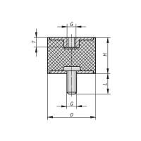 Gummipuffer Typ B Ø70x60 M12 x 37 / 12 NK 75° Shore Stahl verzinkt