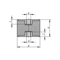 Gummipuffer Typ C Ø100x60 M10 x 10 NK 55° Shore Stahl verzinkt