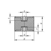 Gummipuffer Typ C Ø75x70 M12 x 12 NK 55° Shore Stahl verzinkt