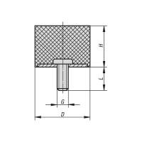 Gummipuffer Typ D Ø10x5 M5x12 NK 55° Shore Stahl verzinkt