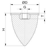 Parabelpuffer Typ PE Ø165x195 M16x16 NK 55° Shore Stahl verzinkt