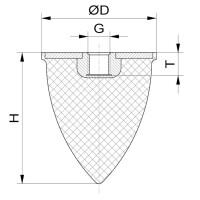 Parabelpuffer Typ PE Ø25x15 M6x6 NK 55° Shore Stahl verzinkt