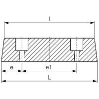 Rammpuffer mit zwei Löchern 125x40x15mm SBR 70°Shore