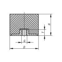 Gummipuffer Typ E Ø75x25 M12/12 NR 55°Shore Edelstahl A4