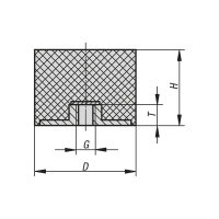 Gummipuffer Typ E Ø100x55 M16/16 NR 55°Shore Edelstahl A4