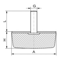 Gummipuffer Typ KD 50x50x20 M10x28 NK55°Shore Stahl verzinkt