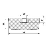 Gummipuffer Typ KE 50x50x20 M10x10 NK55°Shore Stahl verzinkt