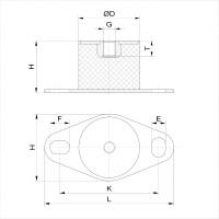 Gummipuffer Typ BP Ø30x33 M8 x 8 NK 55°Shore Stahl verzinkt
