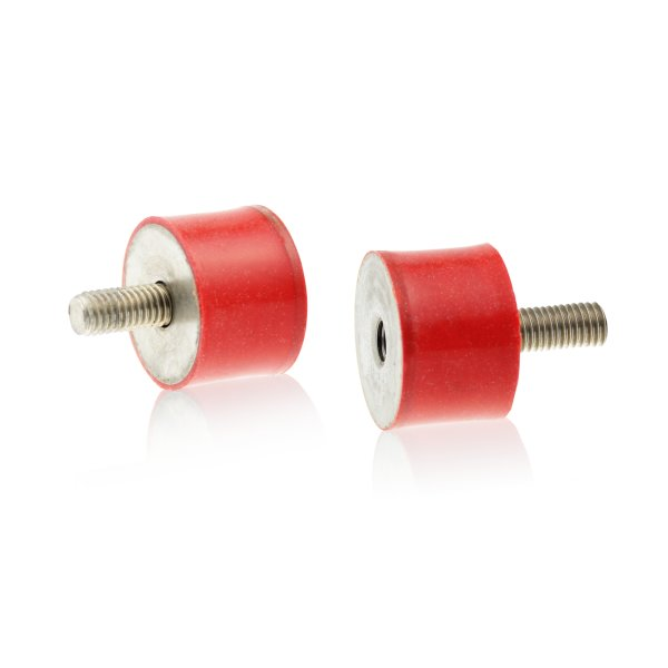 Silikon-Edelstahl-Puffer Typ B Ø30x25 M8x20 / 8 55°Shore (rot) Edelstahl A4
