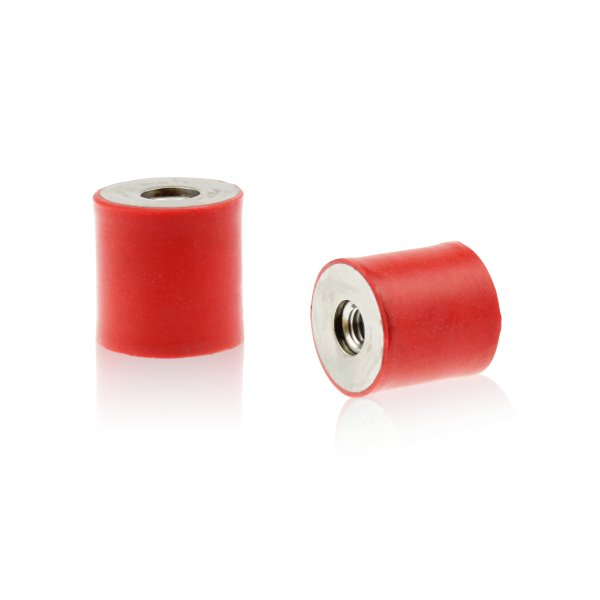 Silikon-Edelstahl-Puffer Typ C Ø15x20 M4x4 55°Shore (rot) Edelstahl A4