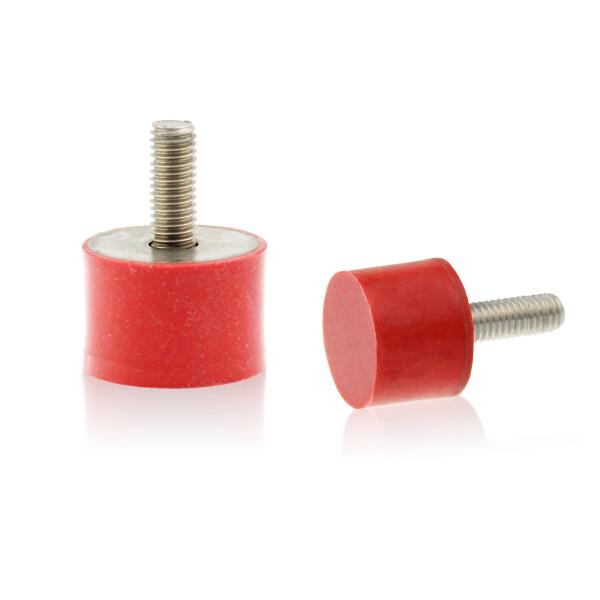 Silikon-Edelstahl-Puffer Typ D Ø25x10 M6x18 55°Shore (rot) Edelstahl A4