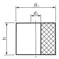Hohlpuffer Typ HP-1 Ø10/2,1x8 NR 55°Shore